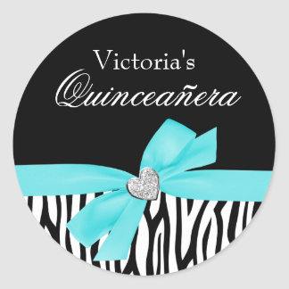 Zebra Teal Blue Bow Diamond Quinceanera Round Stickers