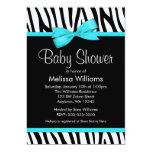 Zebra Teal Blue Printed Bow Baby Shower 13 Cm X 18 Cm Invitation Card
