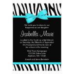 Zebra Teal Blue Printed Bow Bat Mitzvah Invitation Personalized Invitations