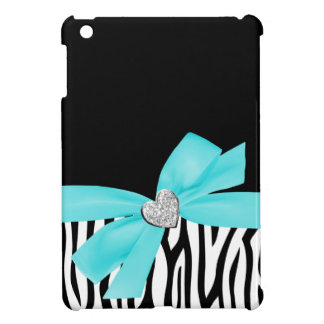 Zebra Teal Blue Printed Bow Diamond Heart iPad Mini Case