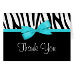 Zebra Teal Blue Printed Bow Thank You Note Card