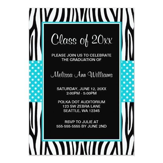 Zebra Teal Polka Dot Graduation Announcement