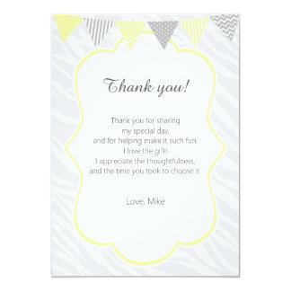 Zebra Thank You Card Yellow Grey 13 Cm X 18 Cm Invitation Card