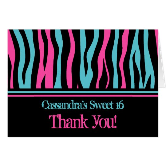 Zebra thank you | Sweet 16 birthday Card