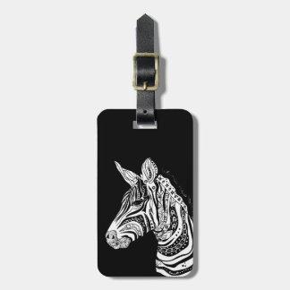 Zebra tribal tattoo themed art bag tag
