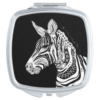 Zebra tribal tattoo themed art compact mirror