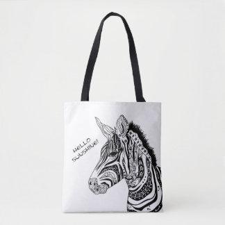 Zebra tribal tattoo themed art tote bag