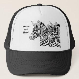 Zebra tribal tattoo themed art trucker hat