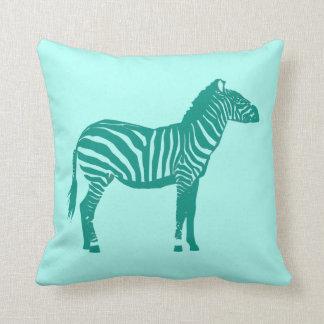 Zebra - Turquoise and Aqua Throw Pillow