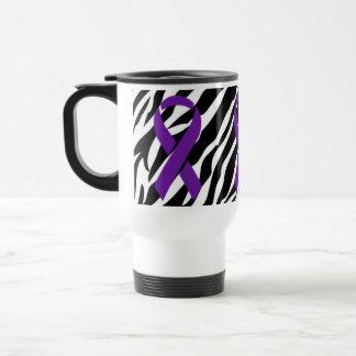 Zebra w/Purple Ribbon Travel Mug