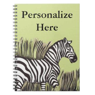 Zebra Walking Through Grass Personalized Notebook