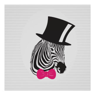 Zebra wearing cylinder hat and bow tie poster