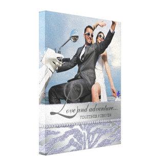 Zebra Wedding Engagement Photo Canvas Silver Stretched Canvas Print