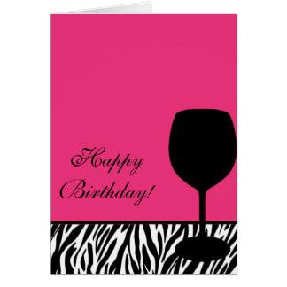 zebra wine birthday card
