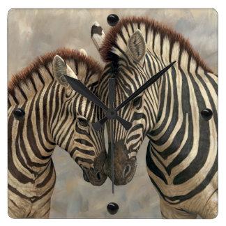 Zebra with Colt Square Wall Clocks