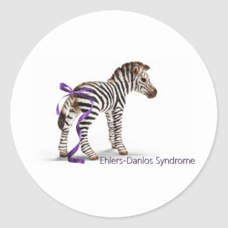 zebra with ribbon large.png round sticker