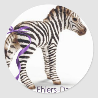 zebra with ribbon large png round sticker