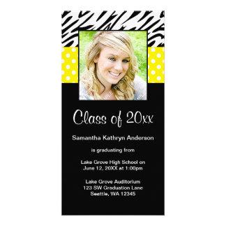 Zebra Yellow Polka Dot Graduation Announcement Photo Cards