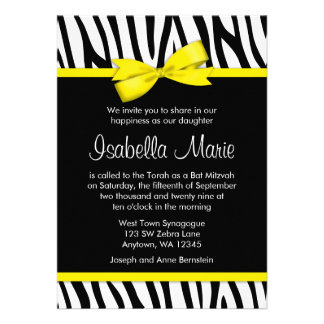 Zebra Yellow Printed Bow Bat Mitzvah Invitations Invitation