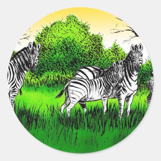 Zebras Alert Round Sticker