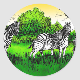 Zebras Alert Round Stickers