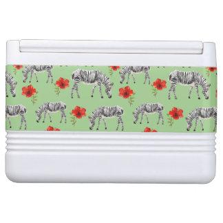 Zebras Among Hibiscus Flowers Igloo Cooler