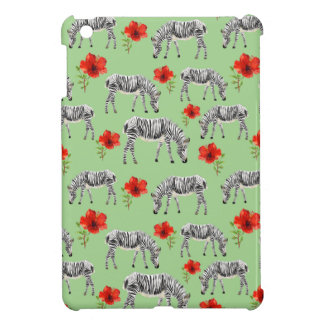 Zebras Among Hibiscus Flowers iPad Mini Cover