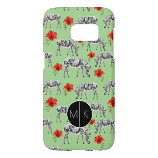 Zebras Among Hibiscus Flowers | Monogram