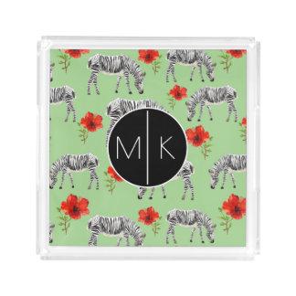 Zebras Among Hibiscus Flowers | Monogram Acrylic Tray