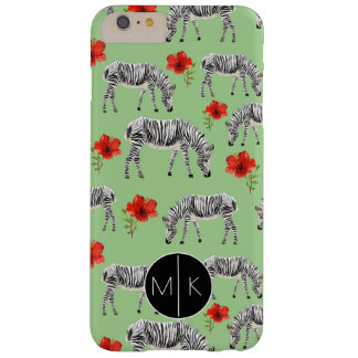 Zebras Among Hibiscus Flowers | Monogram Barely There iPhone 6 Plus Case