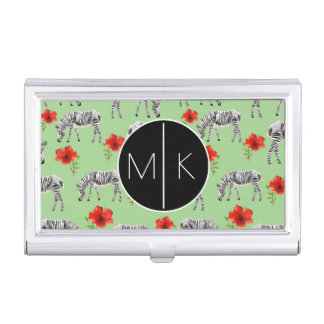 Zebras Among Hibiscus Flowers | Monogram Business Card Holder
