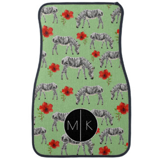 Zebras Among Hibiscus Flowers | Monogram Car Mat