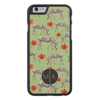 Zebras Among Hibiscus Flowers | Monogram Carved® Maple iPhone 6 Case