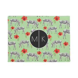 Zebras Among Hibiscus Flowers | Monogram Doormat