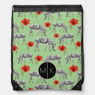 Zebras Among Hibiscus Flowers | Monogram Drawstring Bag