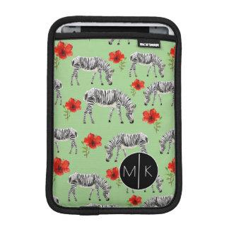 Zebras Among Hibiscus Flowers | Monogram iPad Mini Sleeve