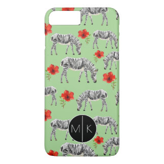 Zebras Among Hibiscus Flowers | Monogram iPhone 8 Plus/7 Plus Case