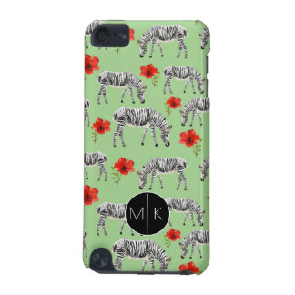 Zebras Among Hibiscus Flowers   Monogram iPod Touch (5th Generation) Cover