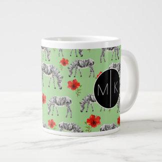 Zebras Among Hibiscus Flowers | Monogram Large Coffee Mug