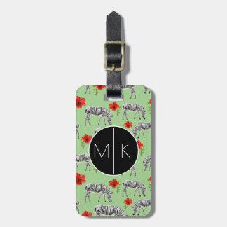 Zebras Among Hibiscus Flowers   Monogram Luggage Tag