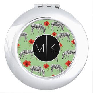 Zebras Among Hibiscus Flowers   Monogram Mirrors For Makeup