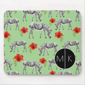 Zebras Among Hibiscus Flowers | Monogram Mouse Mat
