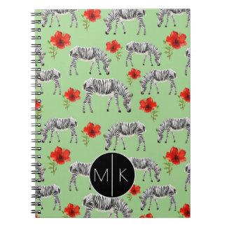 Zebras Among Hibiscus Flowers | Monogram Note Books