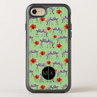 Zebras Among Hibiscus Flowers | Monogram OtterBox Symmetry iPhone 8/7 Case