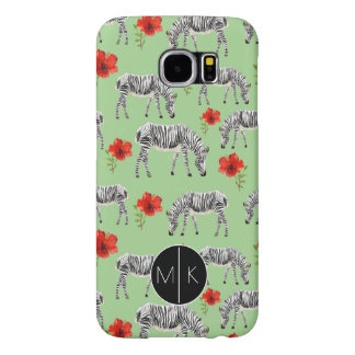Zebras Among Hibiscus Flowers | Monogram Samsung Galaxy S6 Cases