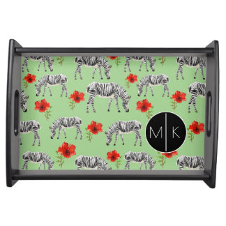 Zebras Among Hibiscus Flowers | Monogram Serving Tray
