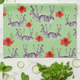 Zebras Among Hibiscus Flowers | Monogram Tea Towel
