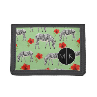 Zebras Among Hibiscus Flowers | Monogram Trifold Wallets
