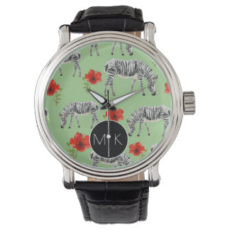 Zebras Among Hibiscus Flowers | Monogram Wrist Watch