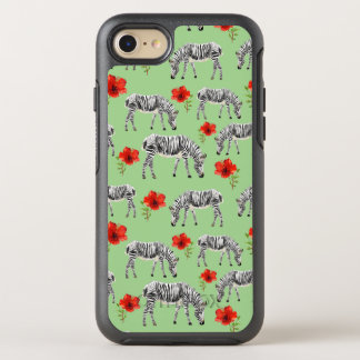 Zebras Among Hibiscus Flowers OtterBox Symmetry iPhone 8/7 Case